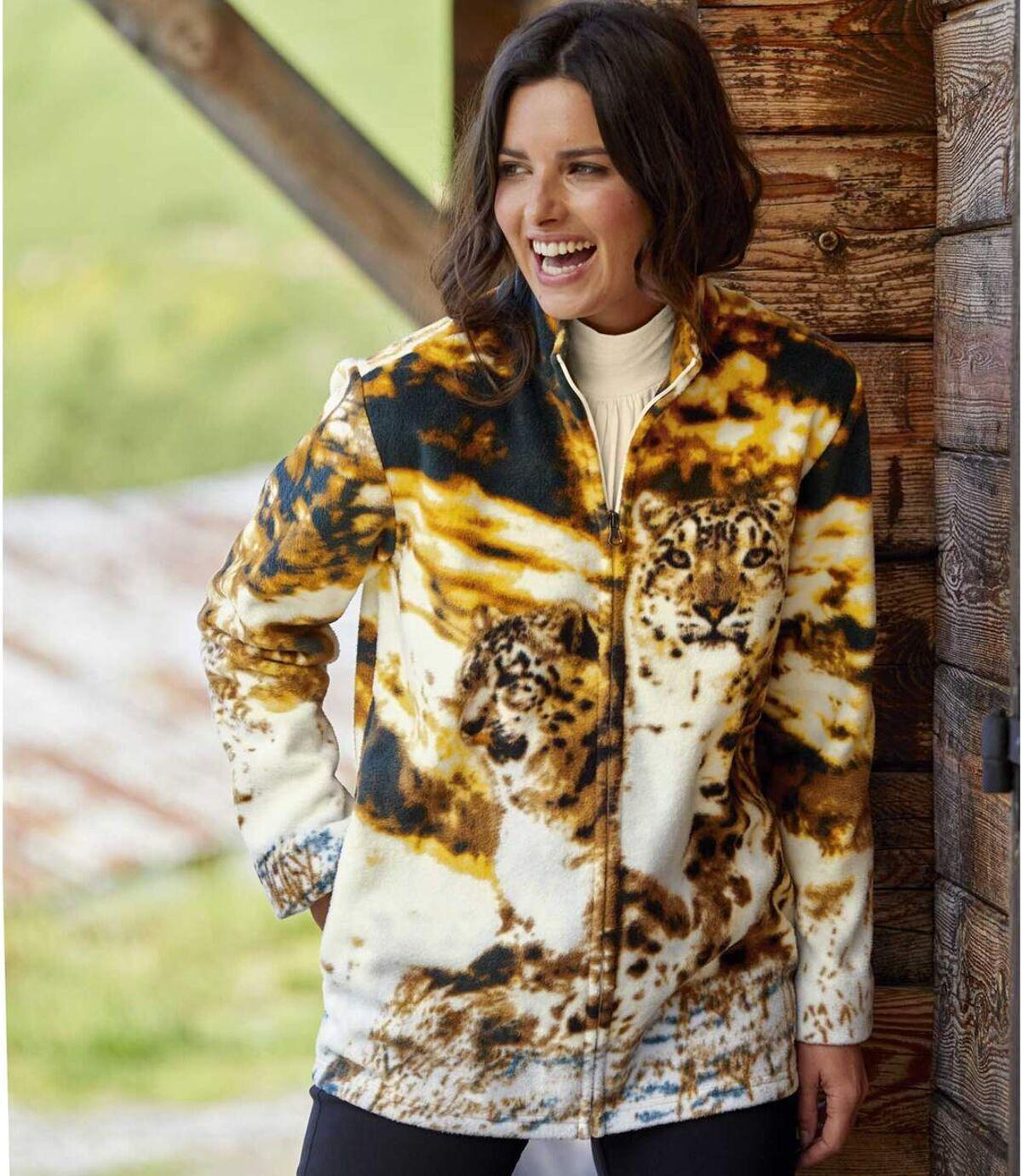 Women's Brown Panther Print Fleece Jacket Atlas For Men