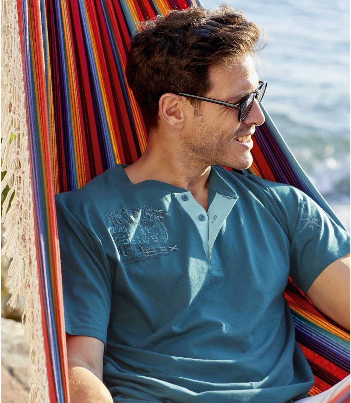 Sada 2 triček sknoflíčkovým zapínáním ukrku Atlas For Men