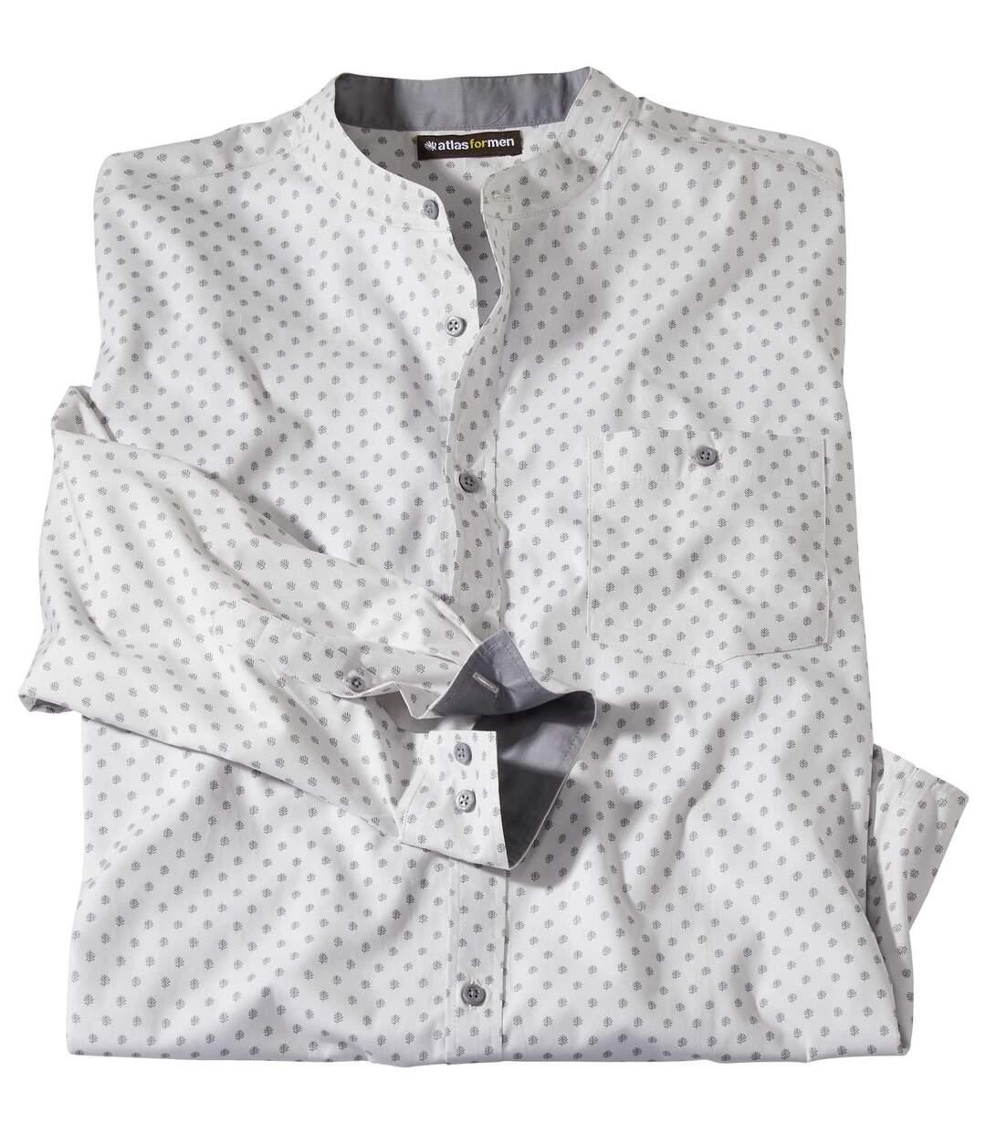 Mao galléros mintás fehér ing