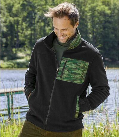Men's Black Camouflage Fleece Jacket - Full Zip