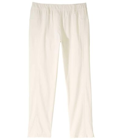 Women's Ecru Stretchy Summer Cropped Pants
