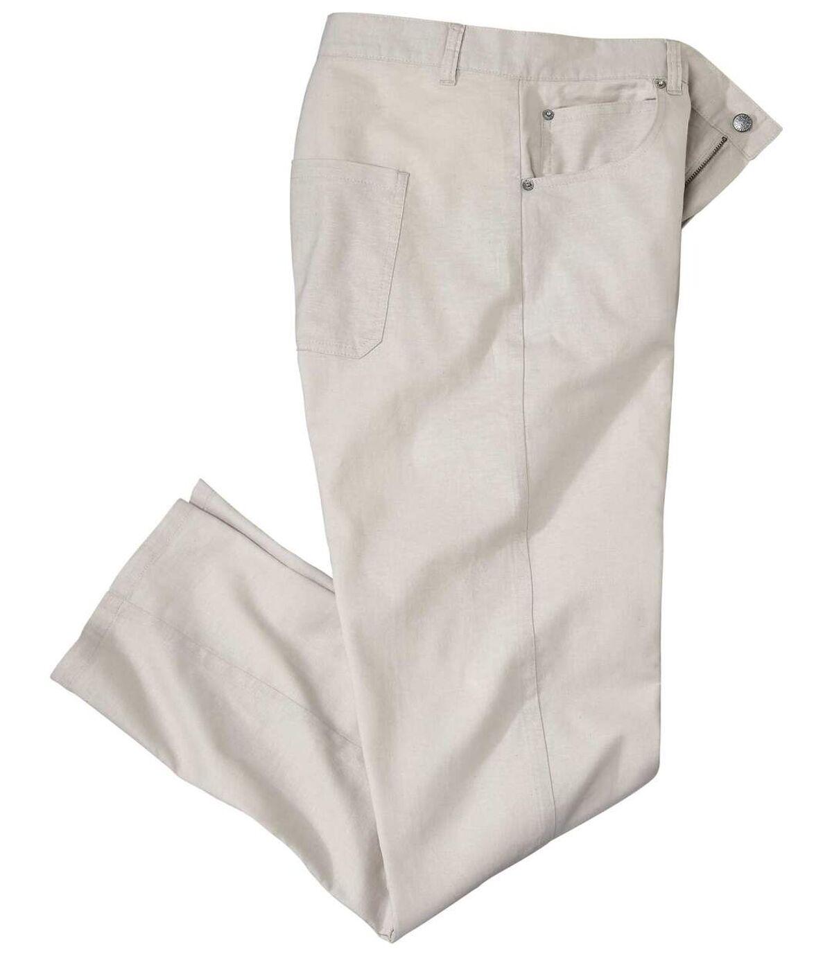 Men's Beige Cotton/Linen Stretch Pants Atlas For Men