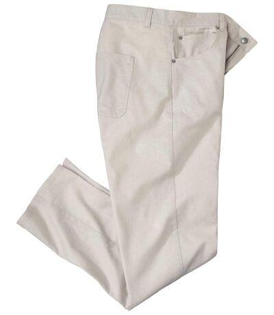 Men's Beige Cotton/Linen Stretch Pants