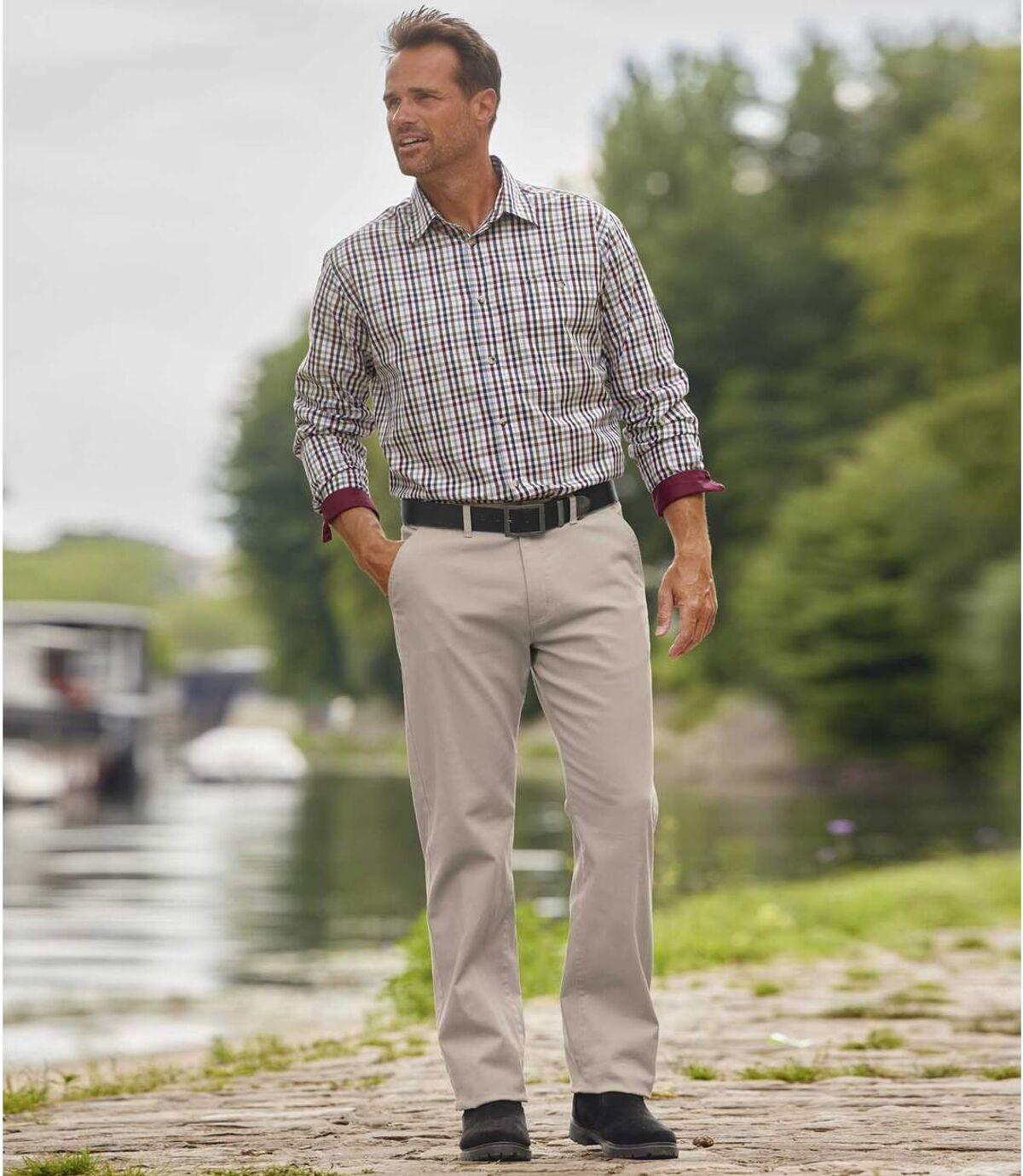 Beżowe spodnie chinosy Atlas For Men