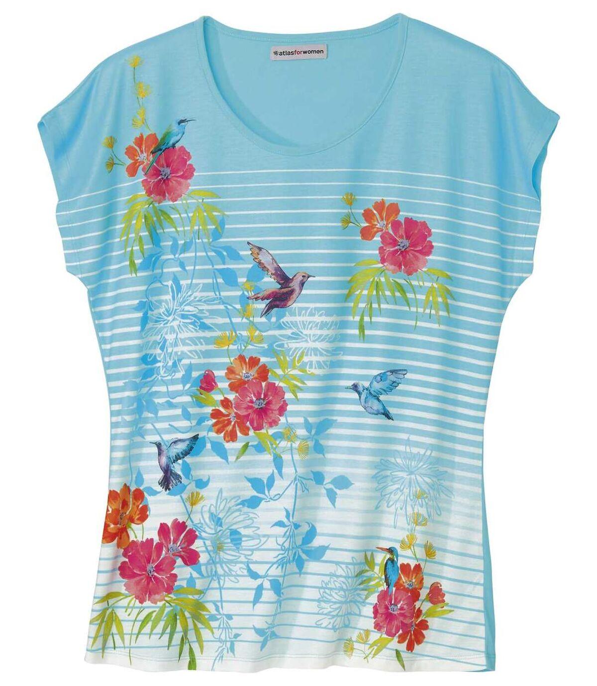 Tričko spotiskem květin a kolibříků Atlas For Men