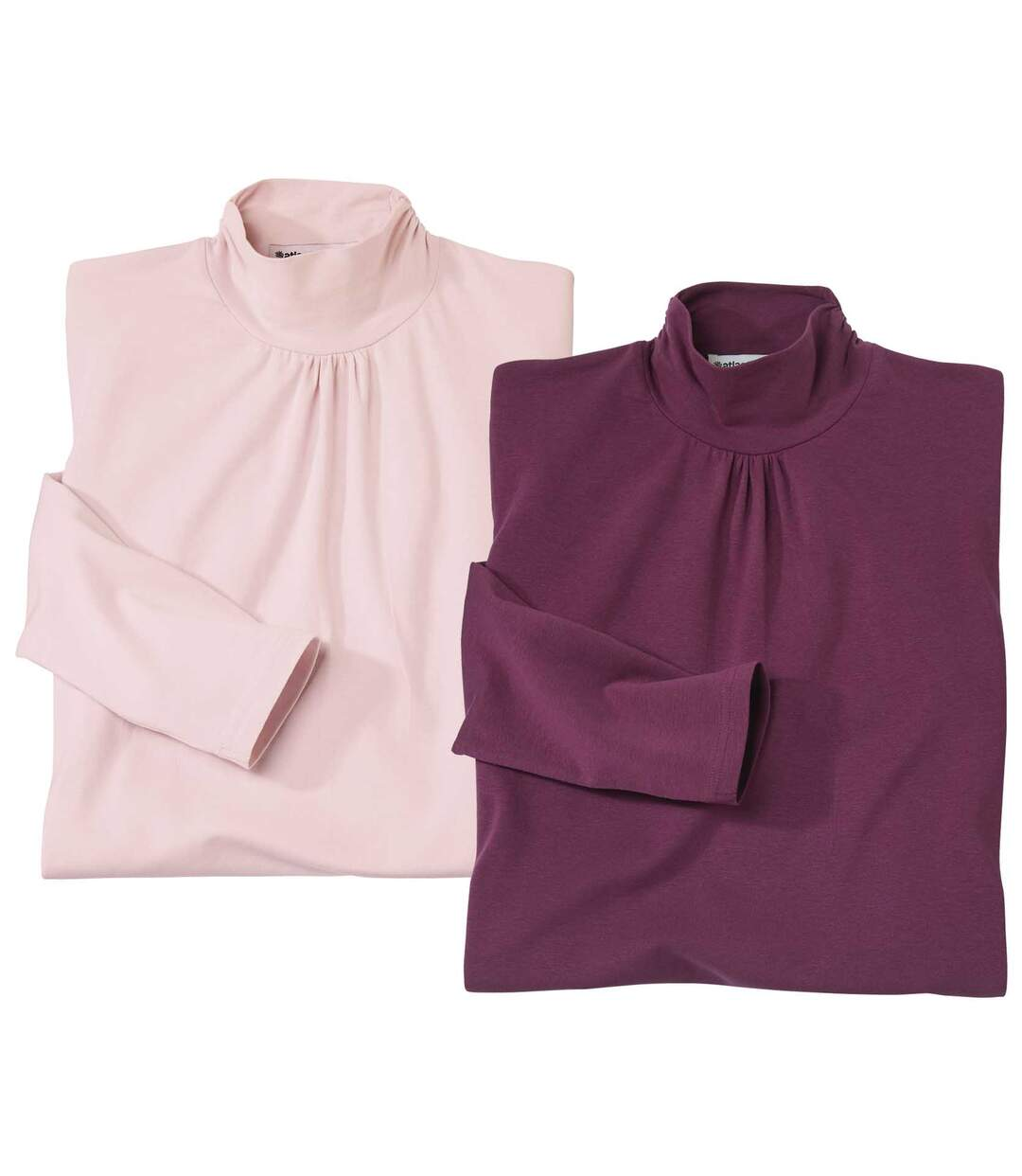 Pack of 2 Women's Turtle Neck Tops - Pink Plum