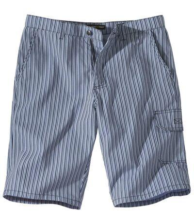 Men's Blue Striped Cargo Shorts