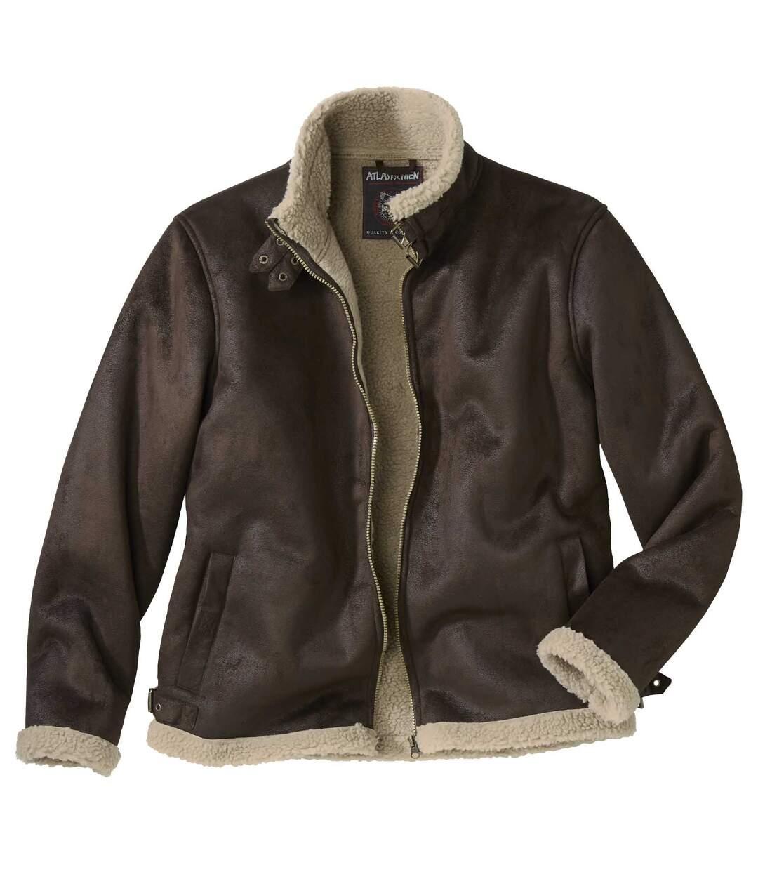Men's Dark Brown Sherpa-Lined Faux-Suede Jacket - Full Zip