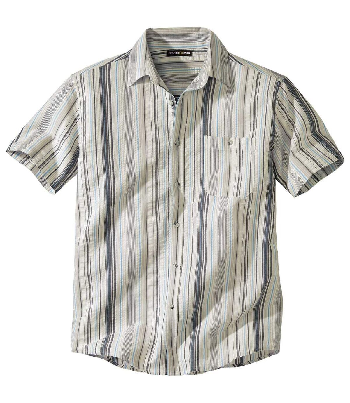Proužkovaná košile Stripe zbavlněného krepu Atlas For Men