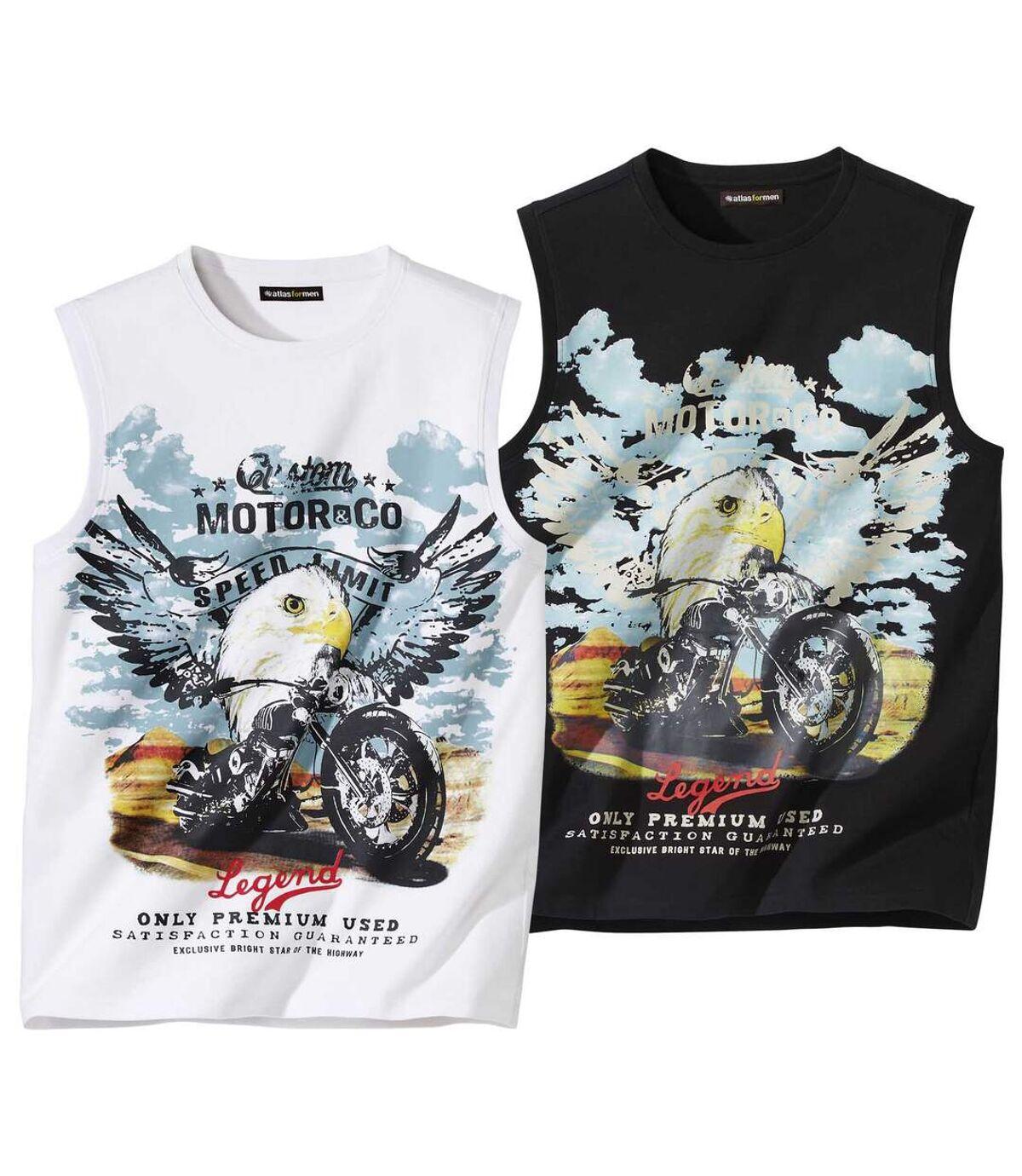 Pack of 2 Men's Biker Print Tank Tops - Black White Atlas For Men