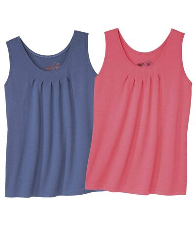 Pack of 2 Women's Summer Tank Tops - Blue, Coral