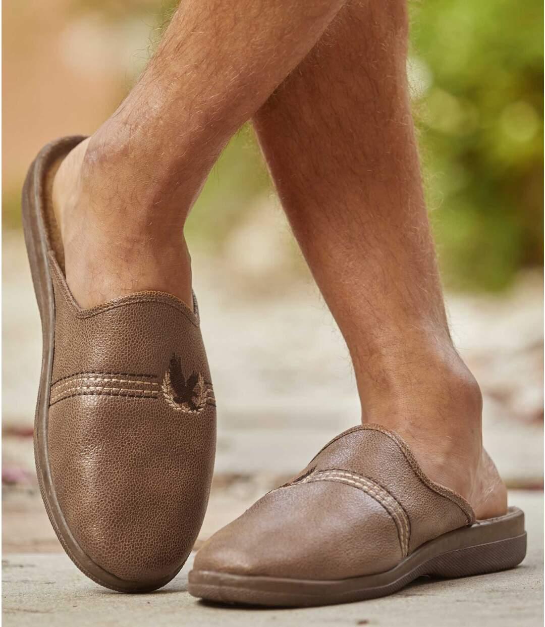 Pantofle zimitace kůže zateplené fleecem