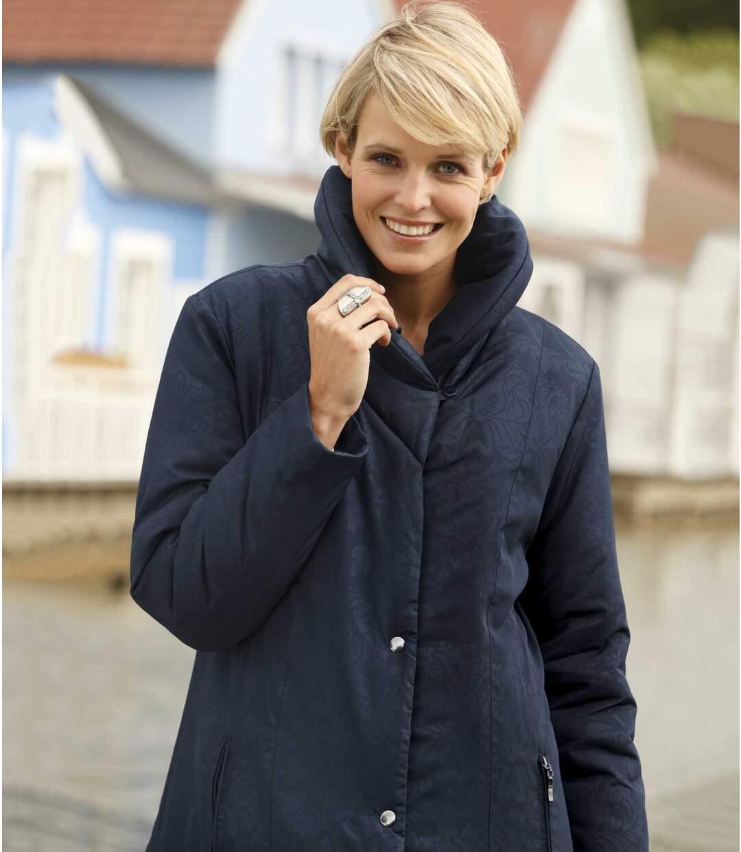 Women's Blue Parka Coat - Shawl Collar