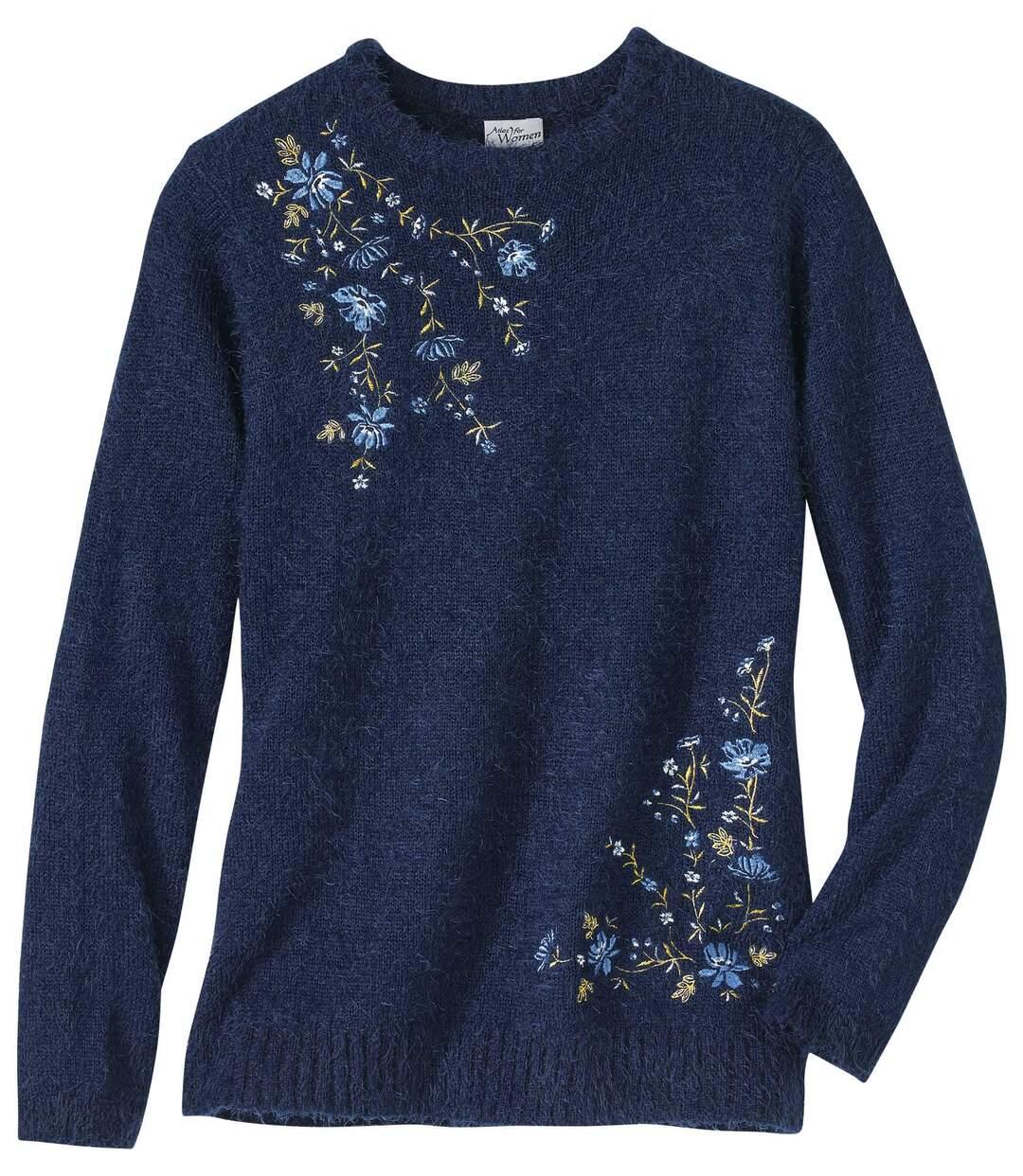 Bolyhos kötött hímzett pulóver Atlas For Men