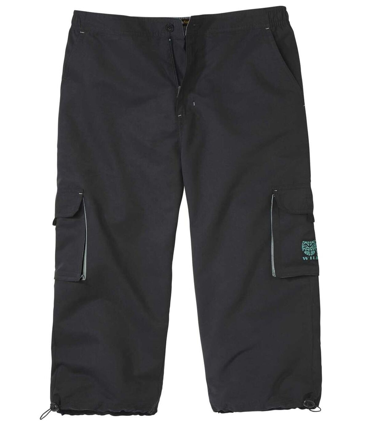 Men's Black Cropped Cargo Pants Atlas For Men