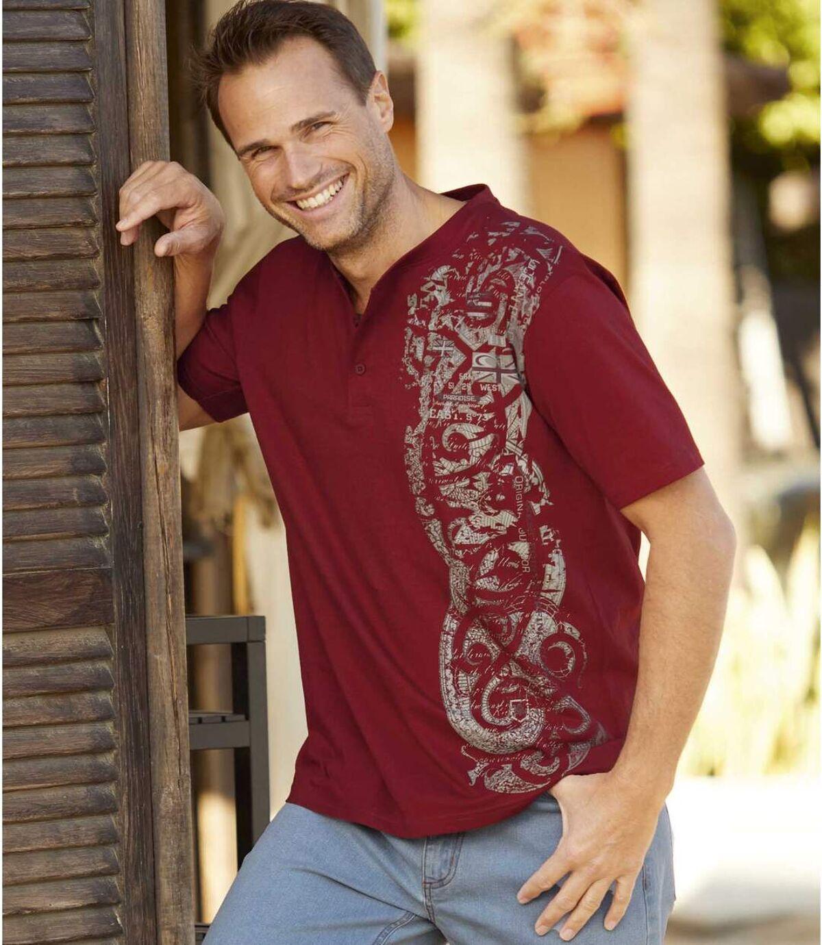 Zestaw 2 t-shirtów  z dekoltem z guzikami Maorii Atlas For Men