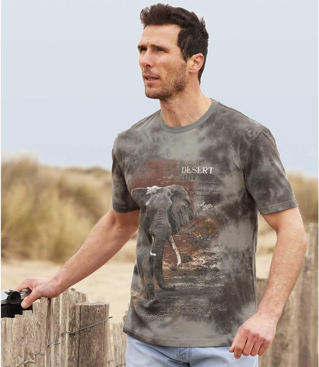 Batikované tričko smotivem slona Atlas For Men