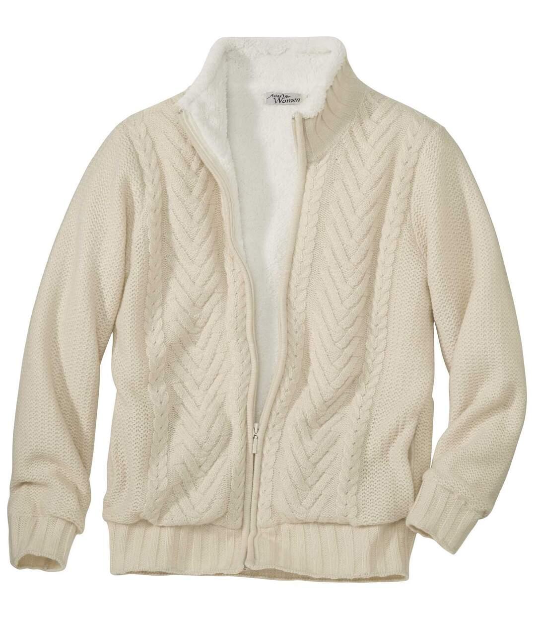 Úpletový svetr s podšívkou z fleecu Coral