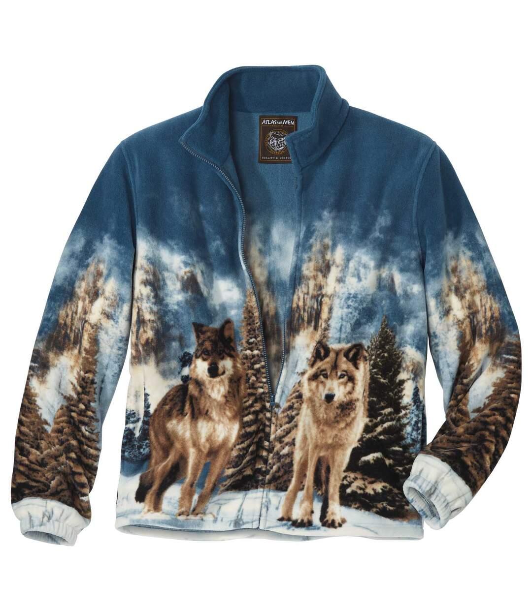 Flísová bunda spotlačou vlkov