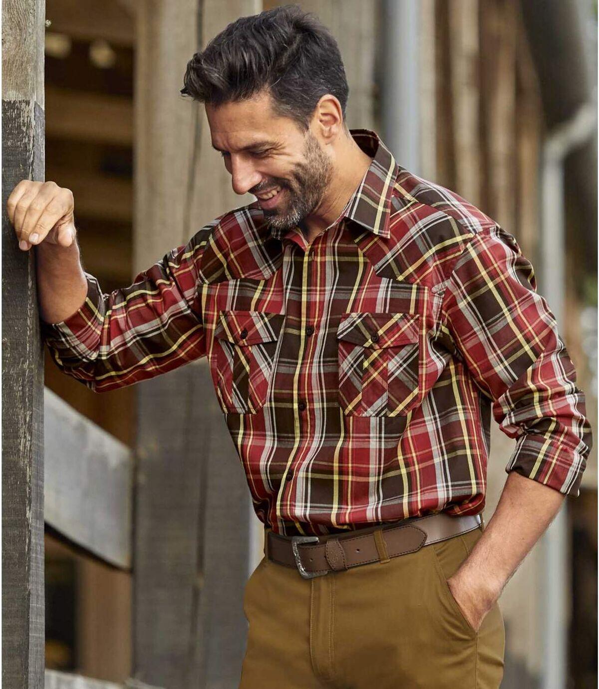 Men's Red & Brown Poplin Checked Shirt Atlas For Men