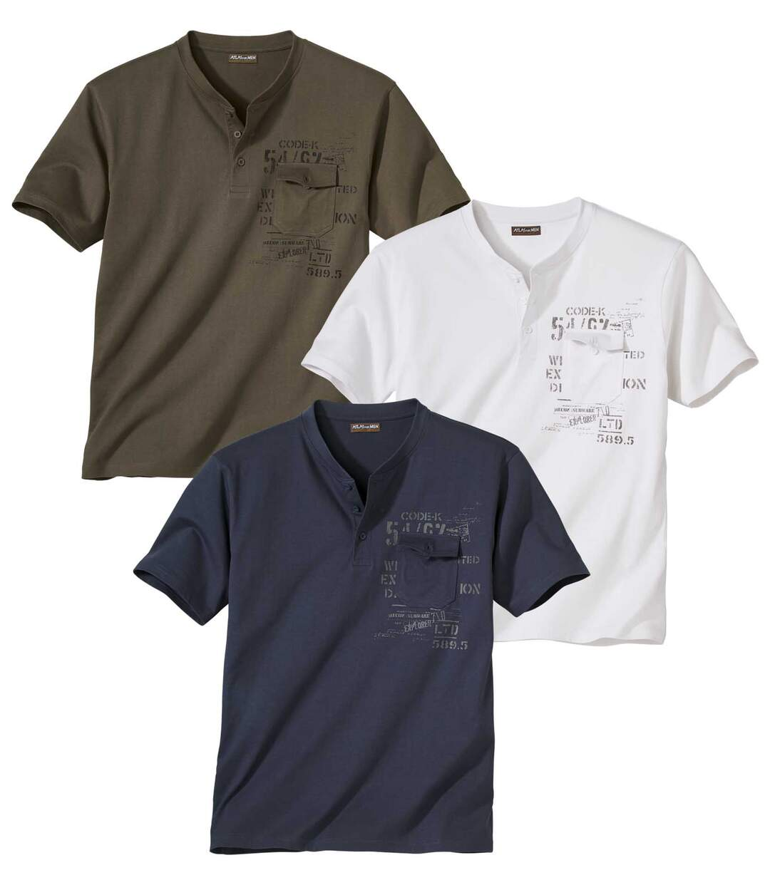 Pack of 3 Men's Button Neck T-Shirts - Khaki Navy White