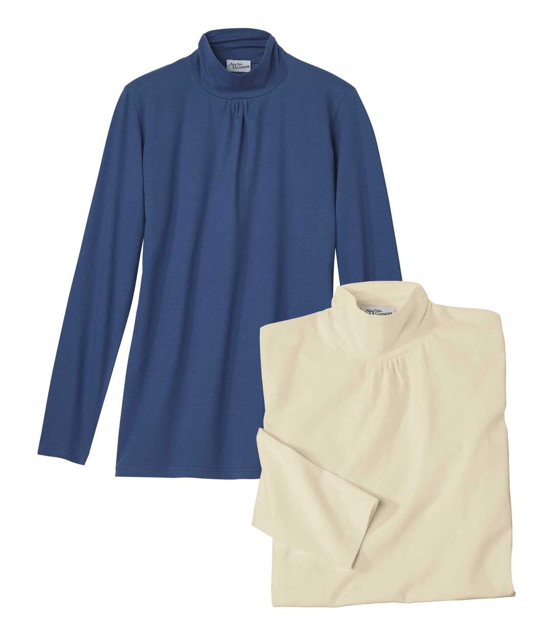 Pack of 2 Women's Funnel-Neck Tops - Blue Ecru