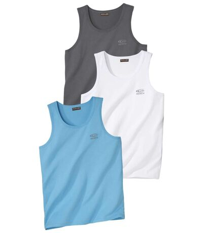 Pack of 3 Men's Tank Tops - Turquoise Grey White