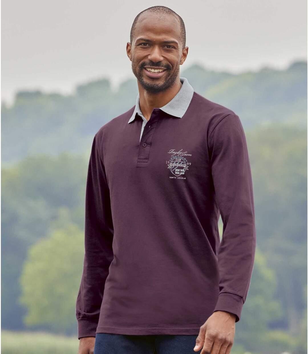 Pack of 2 Men's Long-Sleeved Polo Shirts - Black Burgundy Atlas For Men