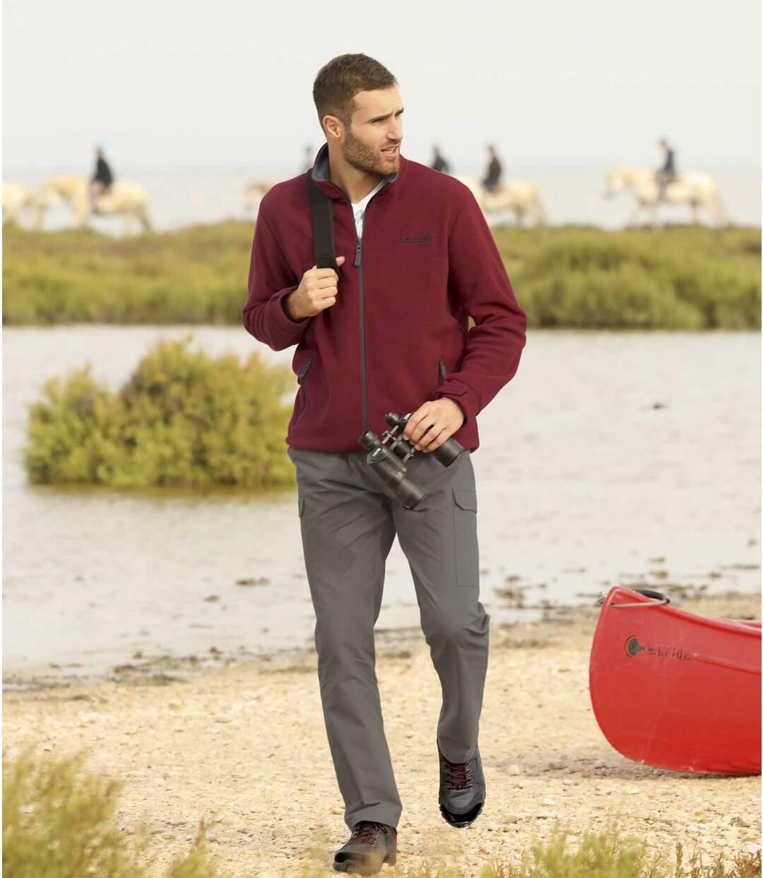 Men's Grey Micro-Canvas Cargo Trousers