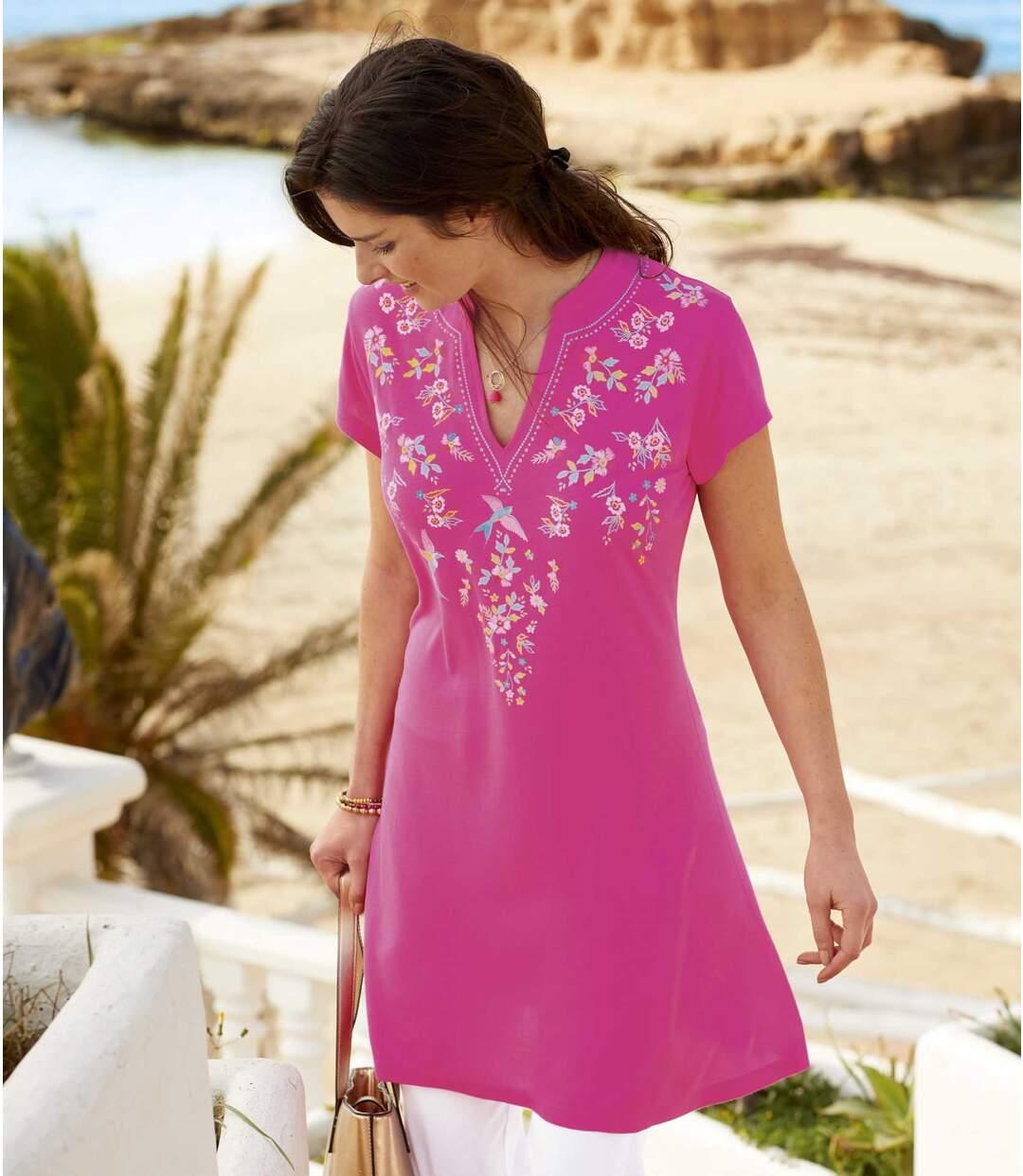 Maxi-T-Shirt mit sommerlichem Djellaba-Kragen