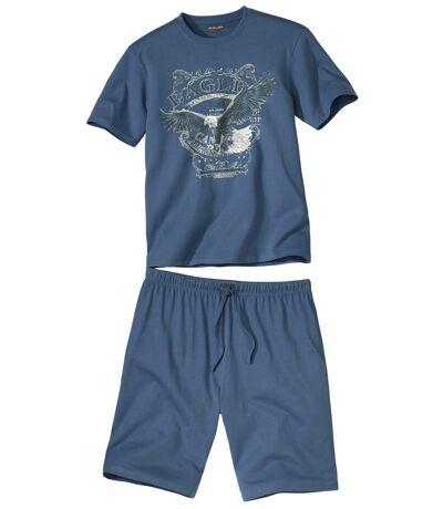 Men's Eagle Print Short Pajama Set - Blue