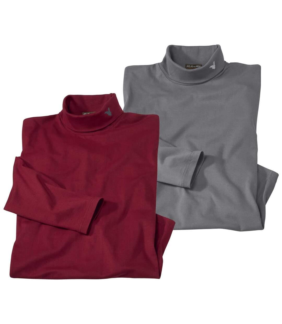 Pack of 2 Men's Cotton Turtleneck Tops - Burgundy, Grey