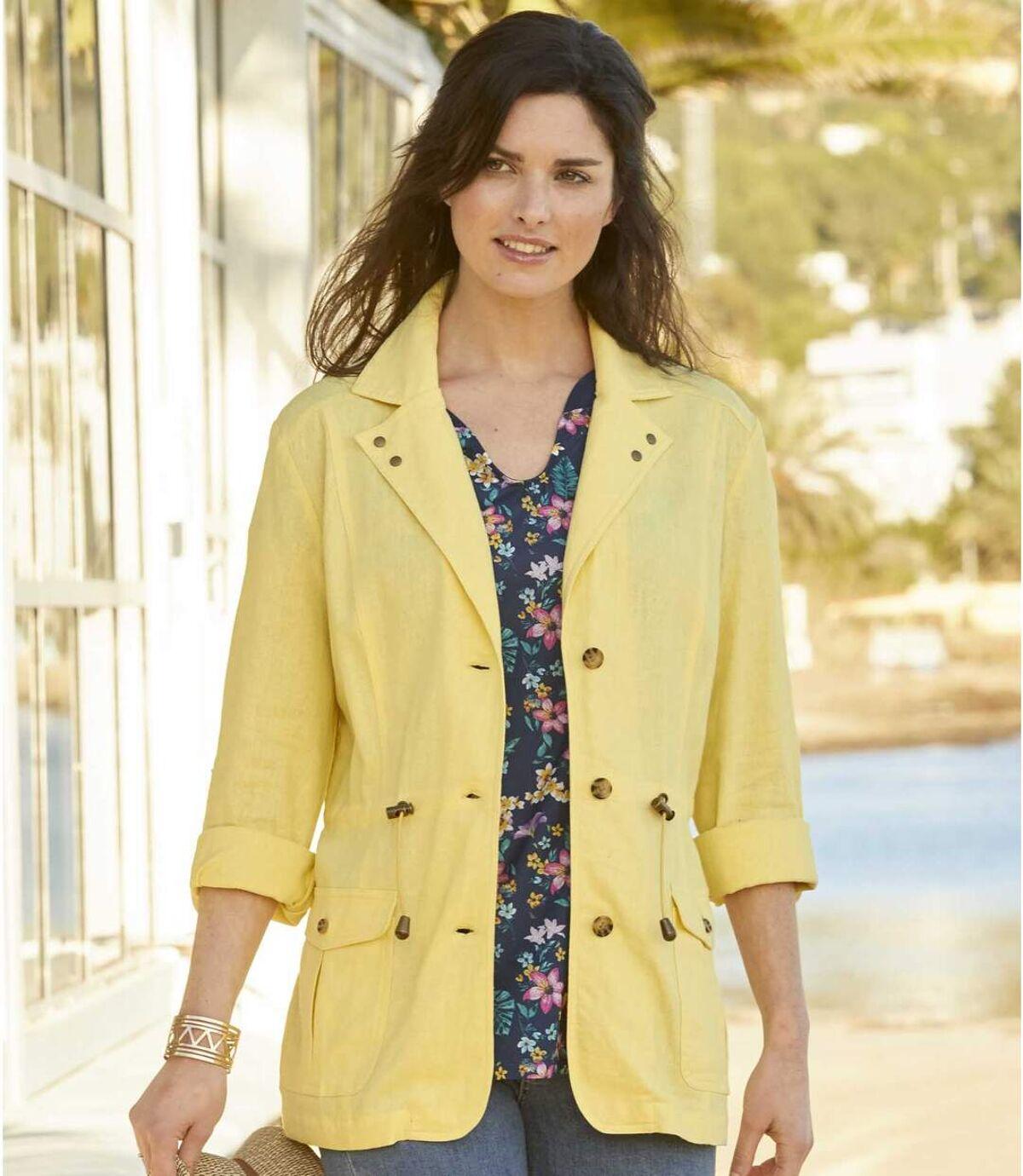Women's Linen and Viscose Safari Jacket - Yellow Atlas For Men