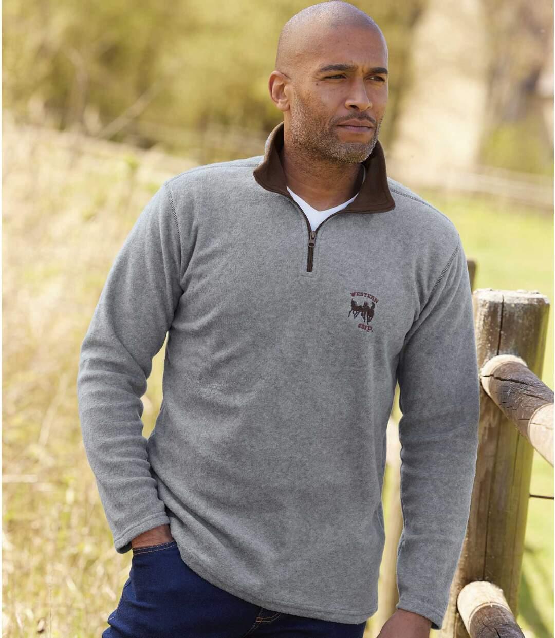 Pack of 2 Men's Fleece Pullovers - Gray and Navy Atlas For Men