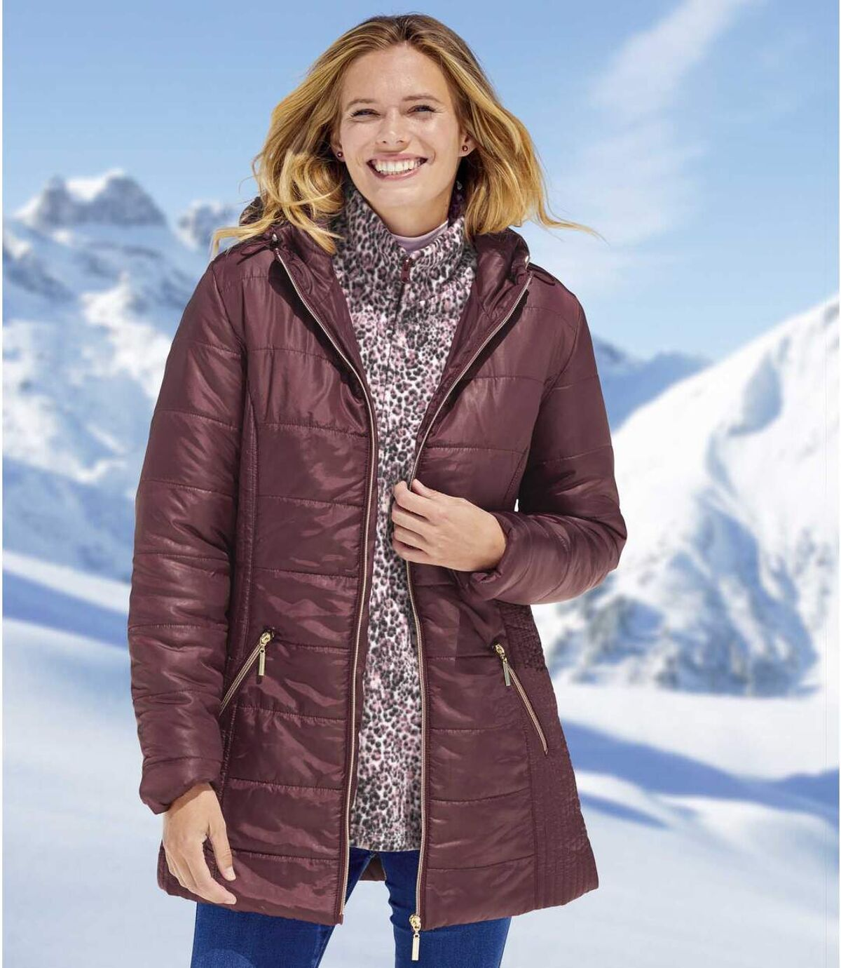 Women's Plum Padded Jacket with Hood - Full Zip - Water-Repellent Atlas For Men