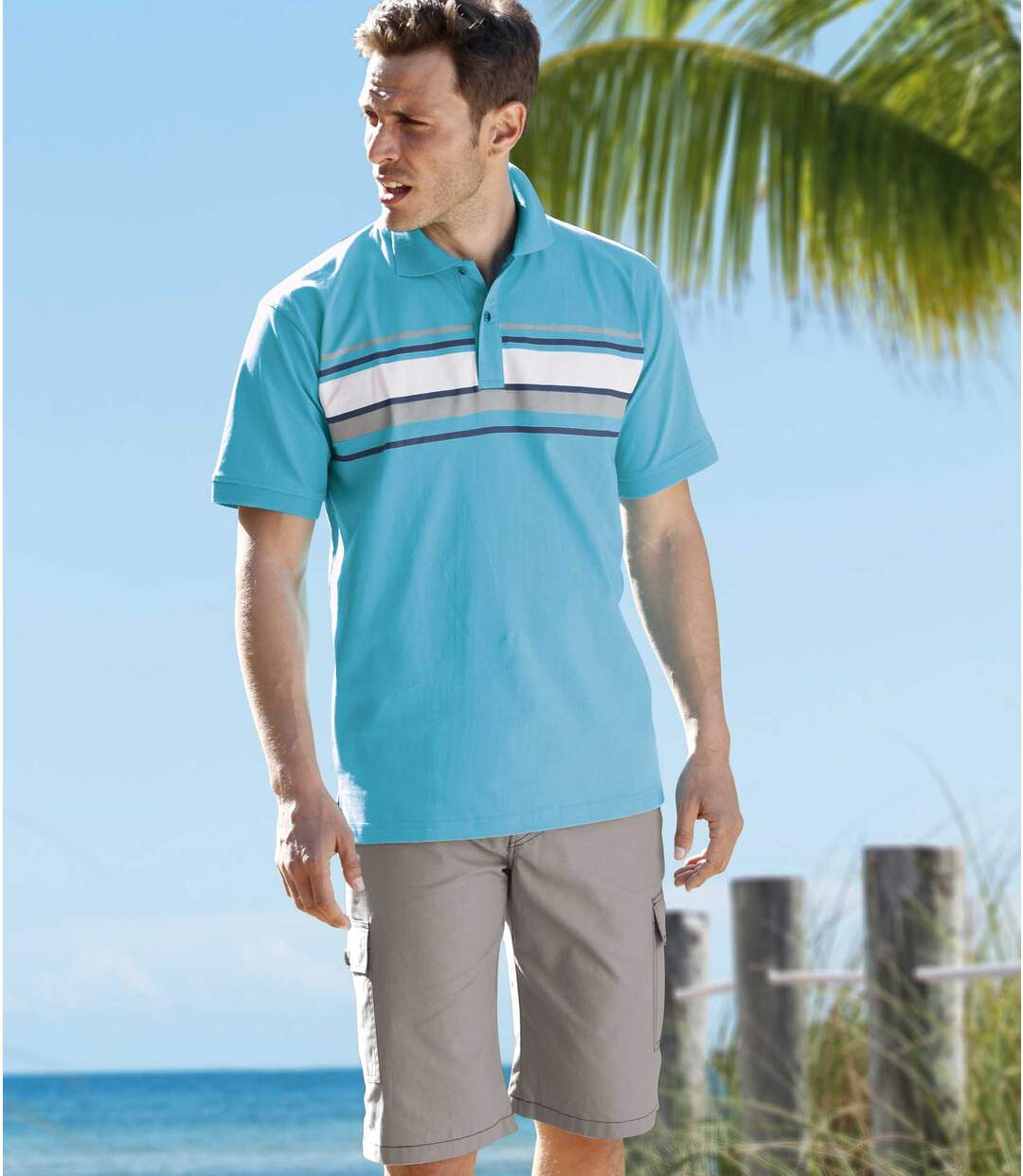 Pack of 2 Men's Polo Shirts - White Turquoise - Pacific Leisure