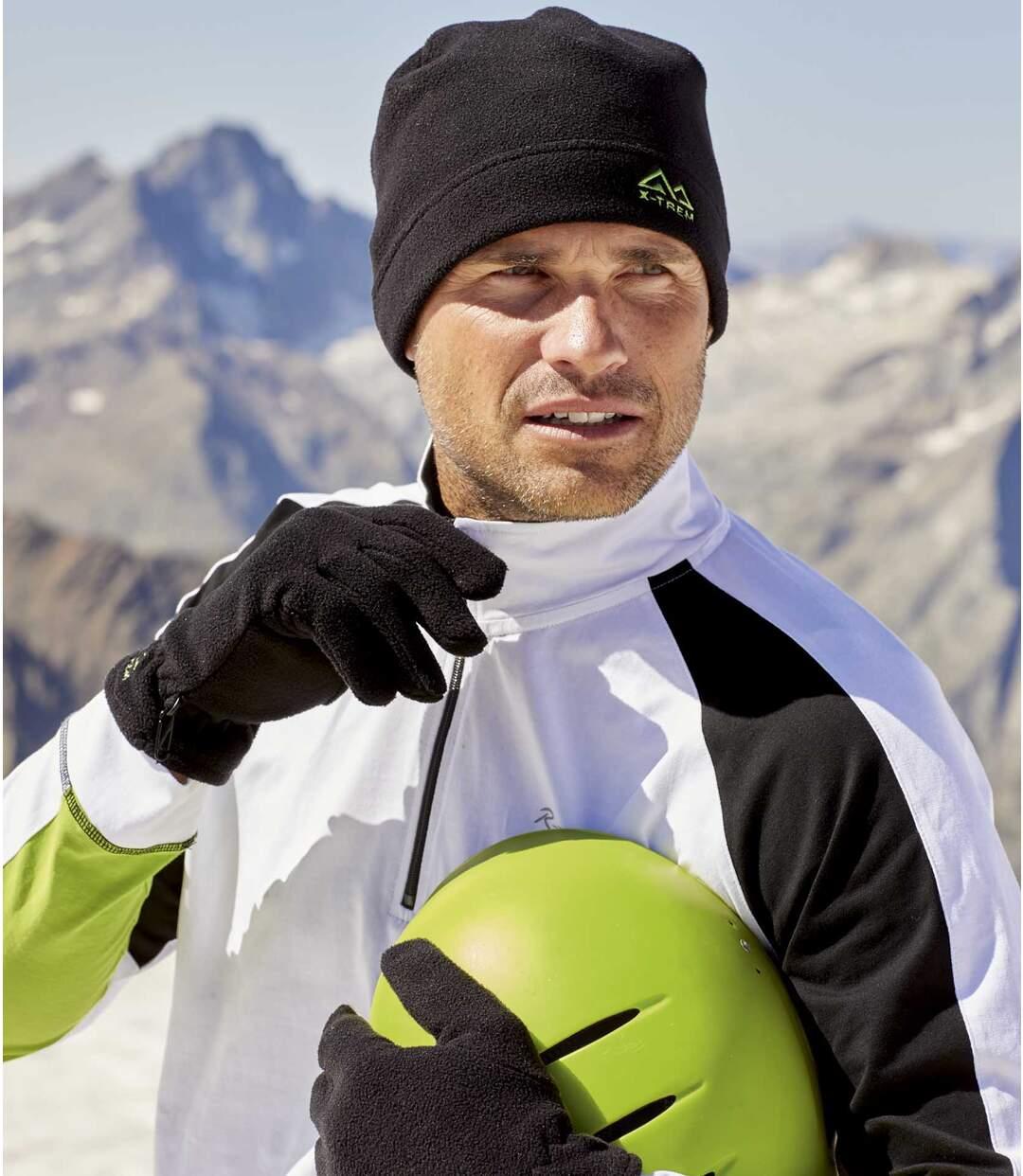 Men's Black Fleece Hat and Gloves Set