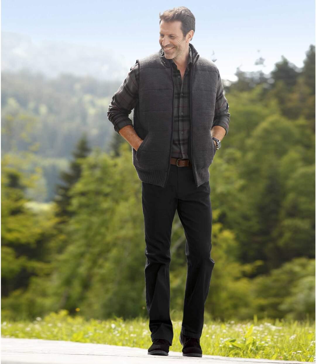 Men's Regular Cut Black Twill StretchTrousers