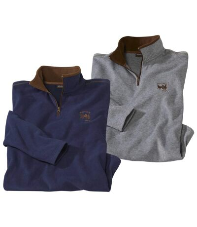 Pack of 2 Men's Fleece Sweaters - Grey Navy