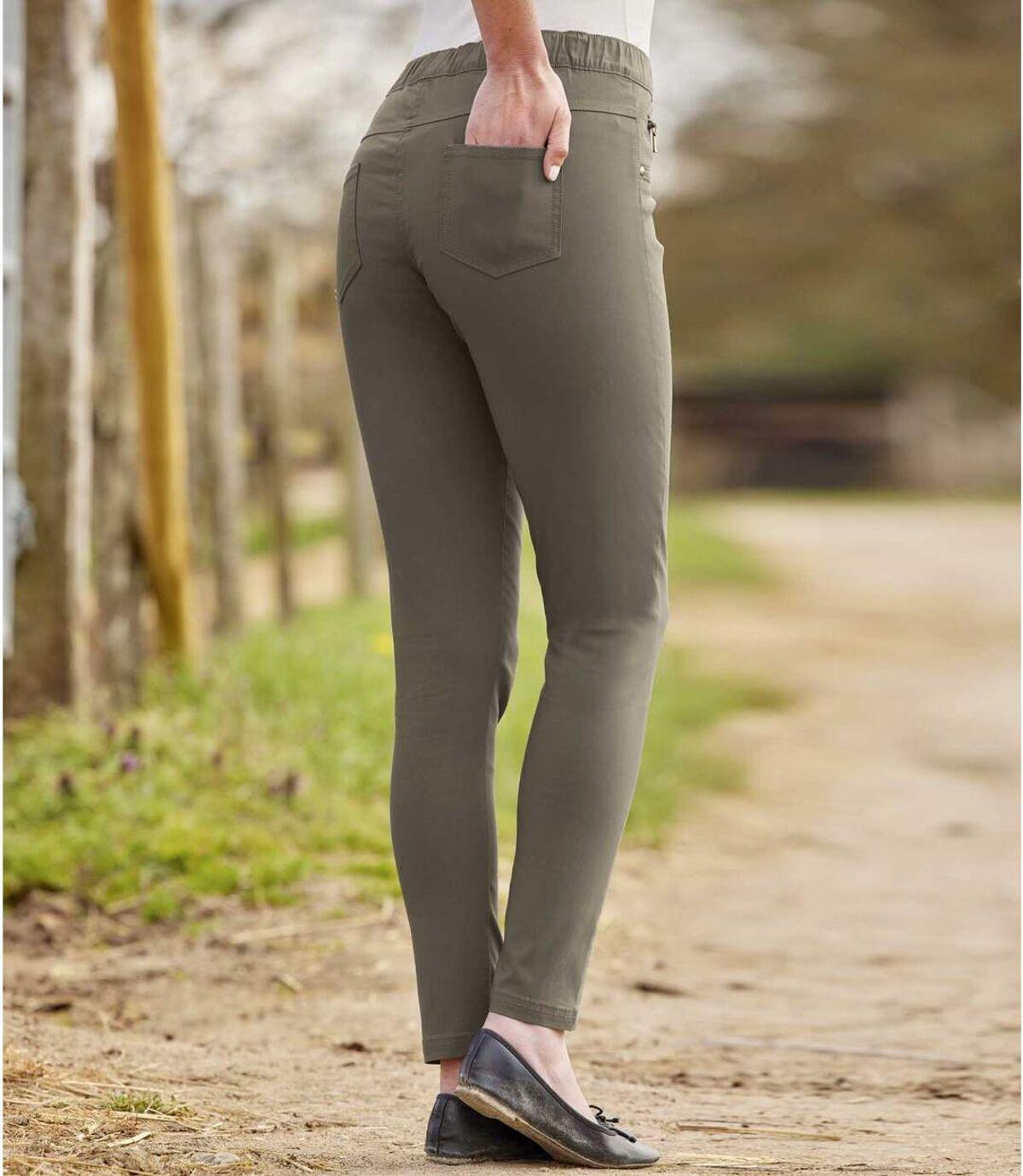 Women's Ankle-Length Stretch Jeggings - Khaki Atlas For Men