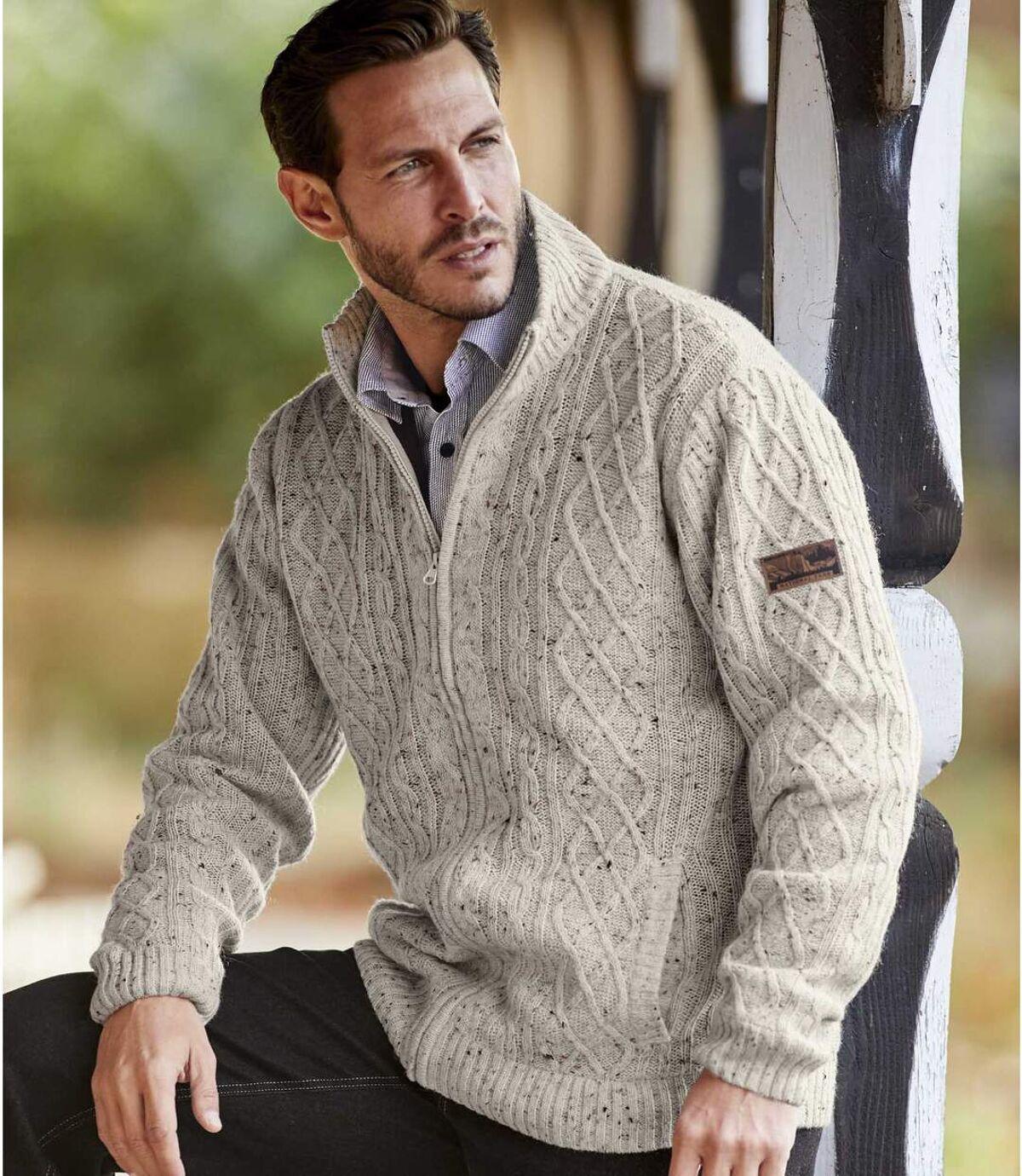 Úpletový flísový sveter na zips Atlas For Men