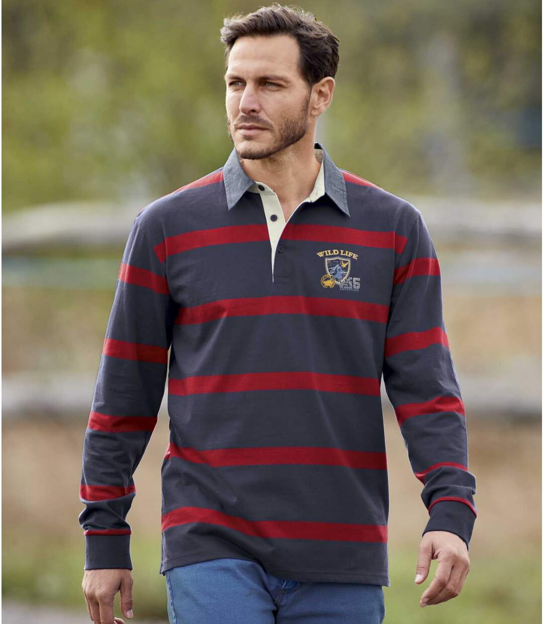 Gestreiftes Poloshirt Savage Lake im Rugby-Stil