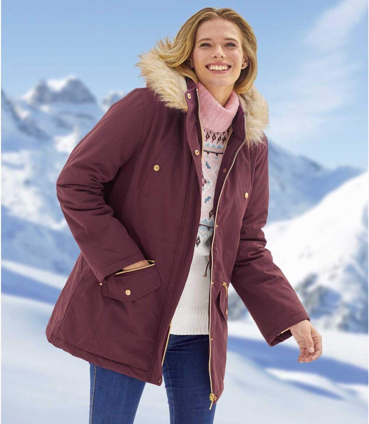 Women's Water-Repellent Plum Parka Coat - Faux-Fur Hood - Full Zip Atlas For Men