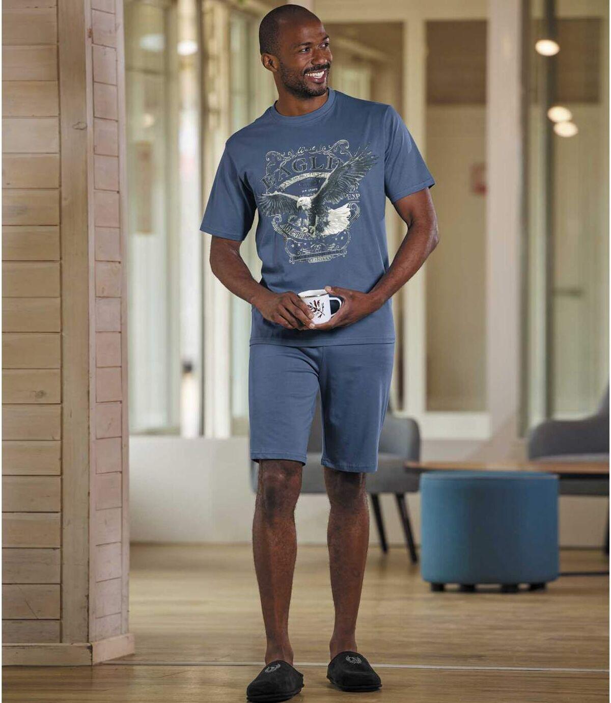 Men's Eagle Print Short Pyjama Set - Blue Atlas For Men