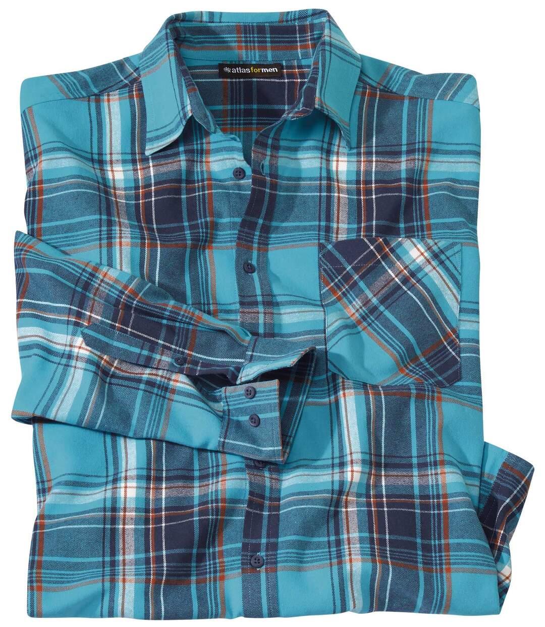 Men's Turquoise Checked Flannel Shirt Atlas For Men