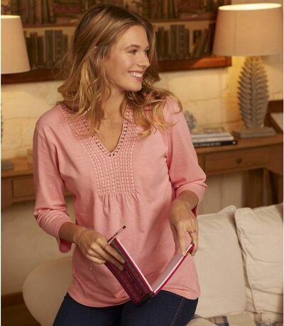 Women's Pink Crochet Detail Top - Three-Quarter Sleeves