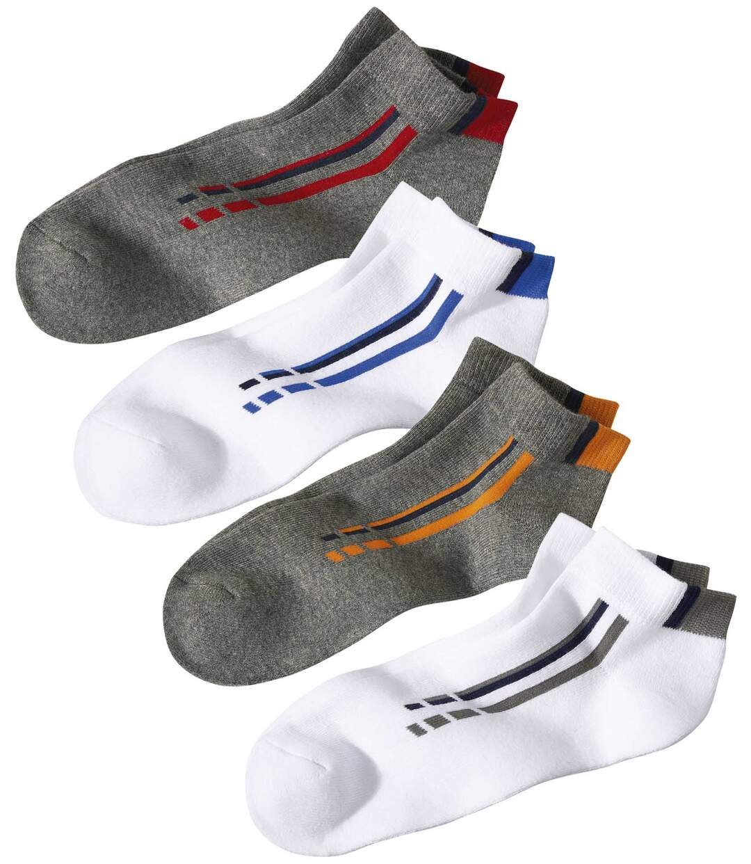 Pack of 4 Men's Sporty Socks - White Grey Atlas For Men