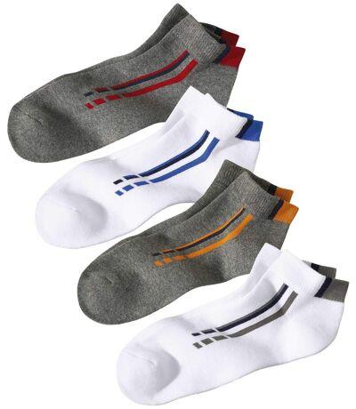 Pack of 4 Men's Sporty Socks - White Grey