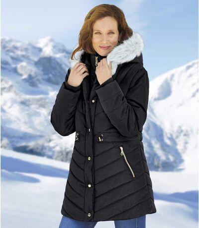 Women's Black Hooded Puffer Jacket - Water-Repellent - Full Zip