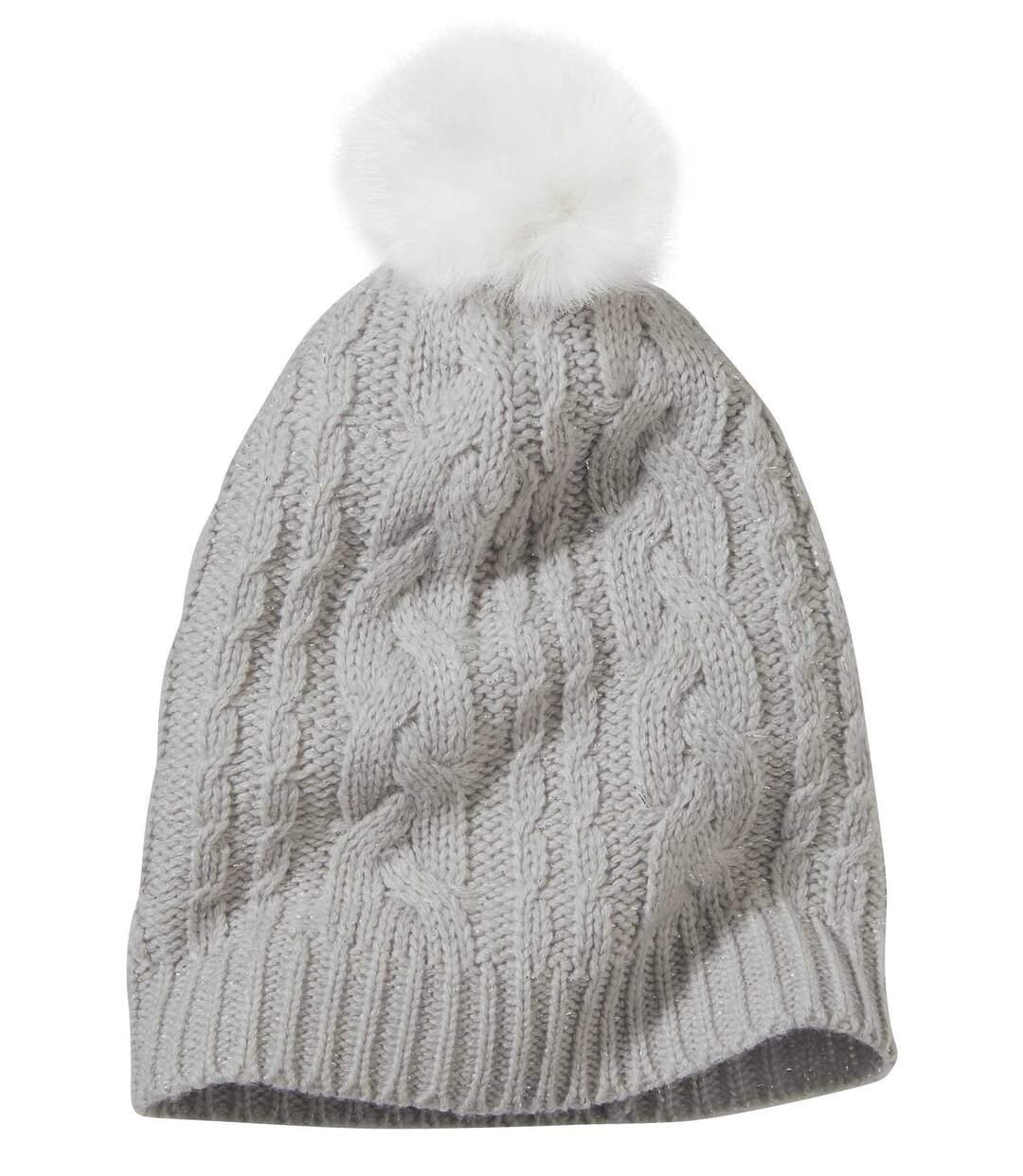 Women's Gray Knitted Pompom Beanie Atlas For Men